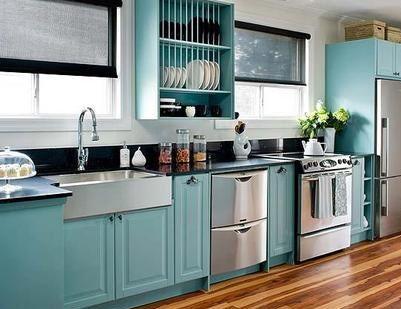 IKEA cabinets painted turquoise...L O V E