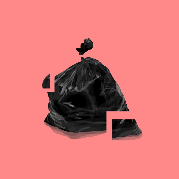 Illustration / Garbage bag / Glass / Fragile / Digital Art / Digital Painting / Minimalism / Illustration / Design / Concept