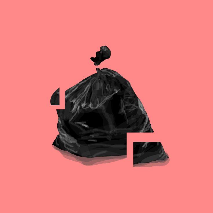 Illustration / Garbage bag / Glass / Fragile / Digital Art / Digital Painting / Minimalism / Illustration / Design / Concept