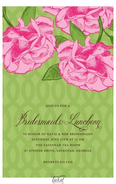 Pink Roses on Green Trellis Invitation - perfect for bridesmaids luncheons, bridal showers and teas  @TwistPaper www.TwistPaper.com
