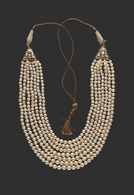 String of Pearls Object Name: Necklace Date: late 18th century Geography: India, Deccan, Hyderabad Culture: Islamic Medium: Pearls, diamonds, gold, and enamel