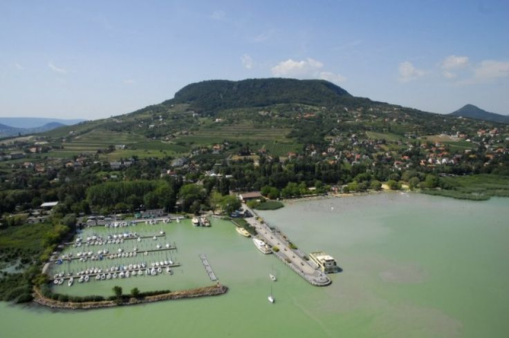 Badacsony's town, hill, harbour and beach, Lake Balaton, Hungary, Europe