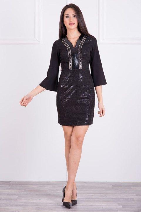 Bayan Siyah Deri ve İşleme Detaylı, Mini Elbise