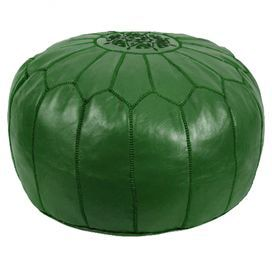 green pouf!: Dark Greenfeatur, Farms Decor, Green Leather, Green Poufs, Moroccan Inspiration Arches, Extra Seats, Handmade Leather, Greenhil Farms, Decor Design Ideas
