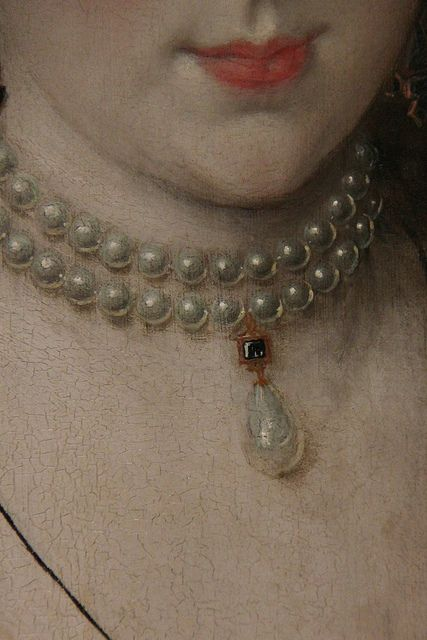 Jewellery detail of Lady Elizabeth Pope, by Robert Peake, circa 1615