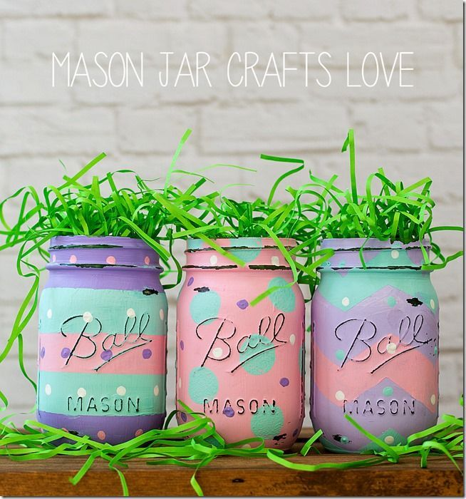 Easter Egg Mason Jars | Easter Craft Ideas | Mason Jar Craft Ideas for Easter @ Mason Jar Crafts Love