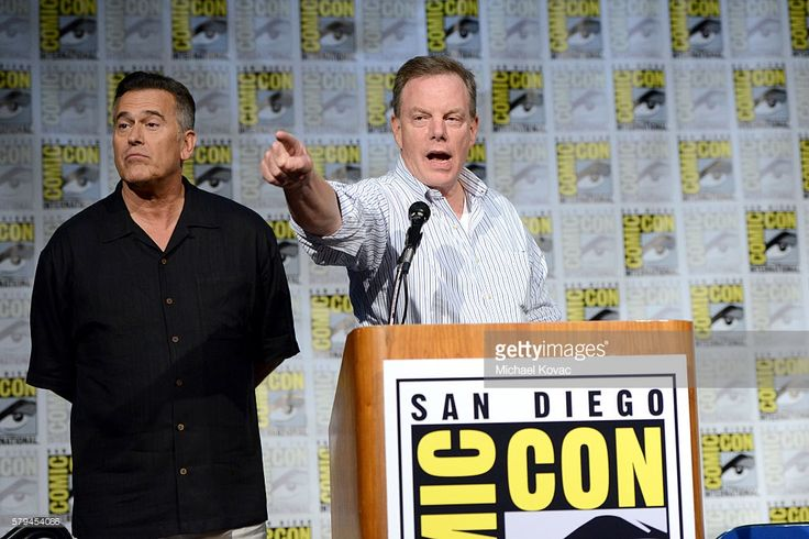 Actor Bruce Campbell and producer Robert Tapert speak on stage at the 'Ash vs Evil Dead' Comic-Con screening at the San Diego Convention Center on July 23, 2016 in San Diego, California.