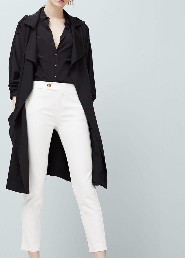 Pantalon droit coton   MANGO