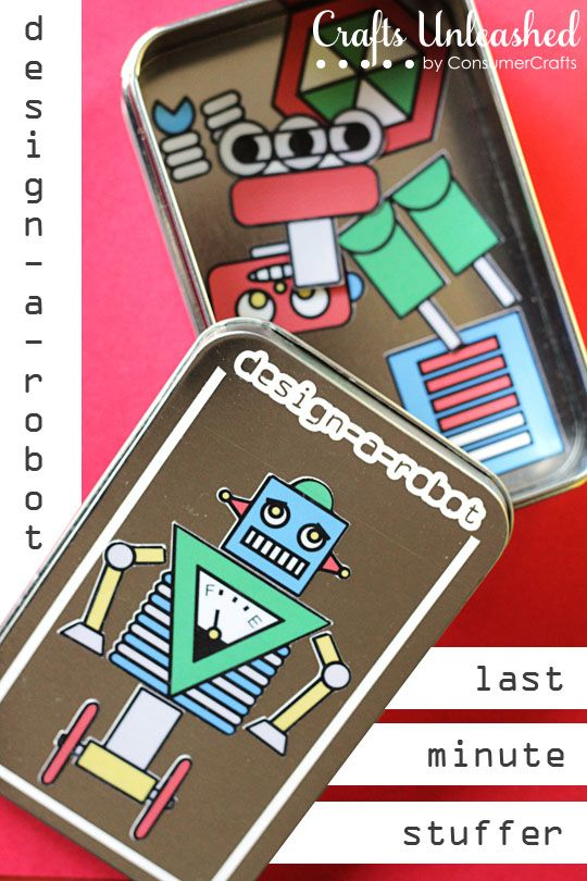 Create this adorable last minute Design-A-Robot tin stocking stuffer using only a few craft supplies and a free printable.