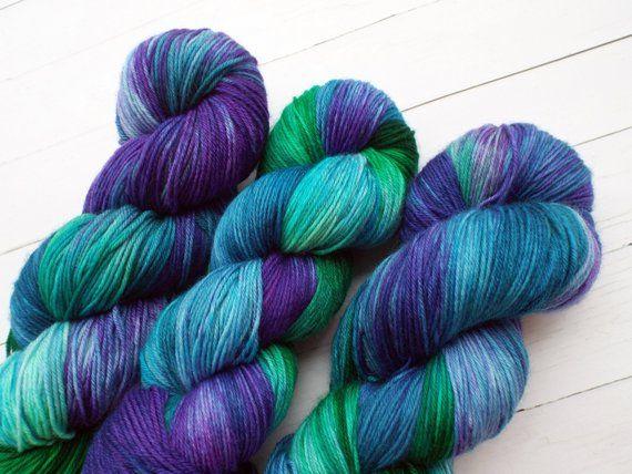 Purple and Green Hand Dyed Yarn