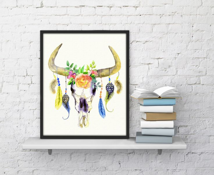 Cow Head Poster, Cow Skull decor, Cow Skull art Tribal Cow Horns floral cow skull print feather cow skull art cow gifts Printable women gift by TopDigitalArt on Etsy https://www.etsy.com/au/listing/261614838/cow-head-poster-cow-skull-decor-cow