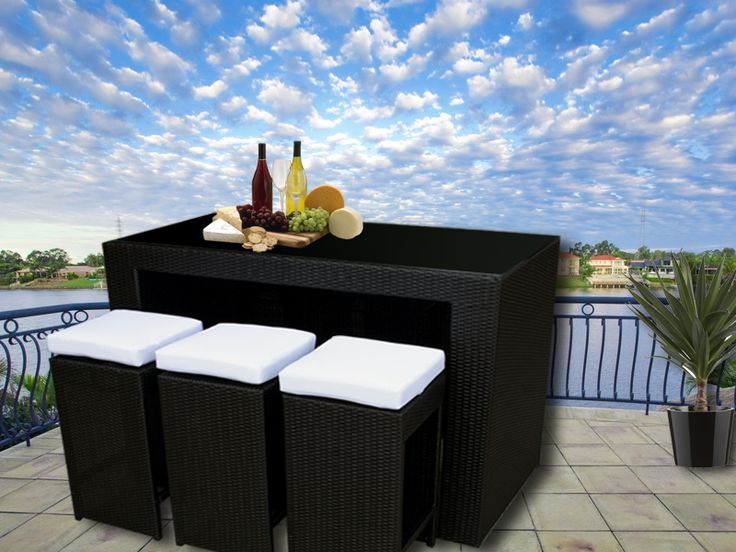Black Bristra Wicker Outdoor Furniture With Stools