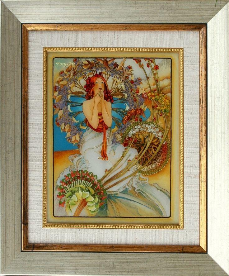 wg Alphonse Mucha, malowane na szkle,  Danuta Rożnowska-Borys -BorysArt