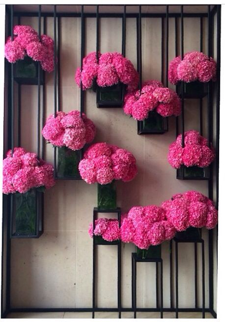 such a cool installation for flowers!