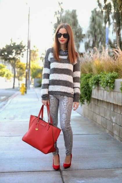 grey and white stripes sweater,pant,handbag and red pumps