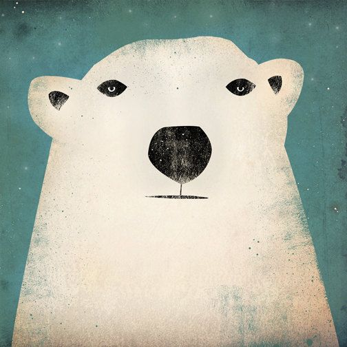 Polar Bear GRAPHIC ART Illustration 7x7 giclee print SIGNED