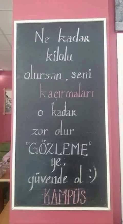 """Ne kadar kilolu olursan, seni kaçırmaları o kadar zor olur.  """"GÖZLEME"""" ye, güvende ol. :)  #mizah #matrak #komik #espri #şaka #gırgır #komiksözler"""