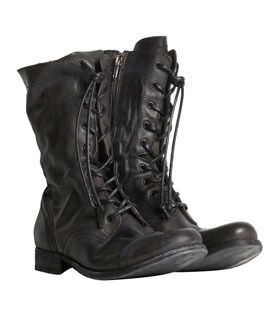 AllSaints Military Boots.  Durable leather German military inspired calf high boot with lace front and toe cap 100% Apache Leather