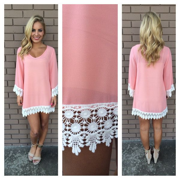 Pink Allison Crochet Long Sleeve Dress-so much cute and reasonably priced dresses Etc!