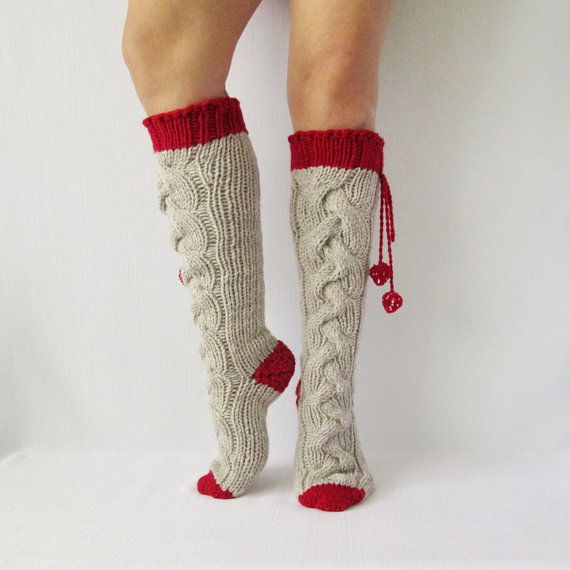 Oatmeal and strawberry color socks. Knit socks. Handmade Knee high Socks Wool socks Warm winter socks.
