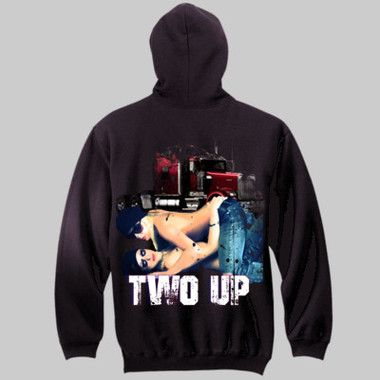 Two Up Pull-Over Hoodie $A70.00 Sizes: S-3XL Front & Back Print http://www.wildsteel.com.au/two-up-hoodie/