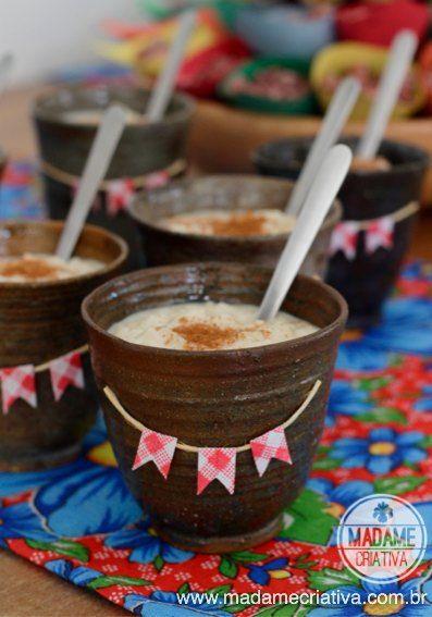 Receita de Arroz doce - Sobremesa fácil de Festa Junina - Passo a Passo com fotos - Creamy Rice Pudding recipe - Madame Criativa - Arroz doce