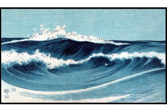 Golven van Vintage Print - zee - zee digitale Print - blauw - Japanse Vintage…