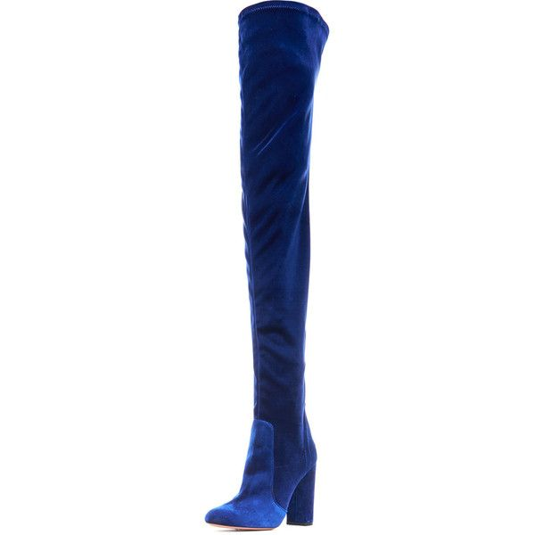 Aquazzura Velvet 105mm Thigh-High Boot ($1,050) ❤ liked on Polyvore featuring shoes, boots, midnight, thigh high heel boots, aquazzura, stretch thigh high boots, over the knee boots and above-knee boots