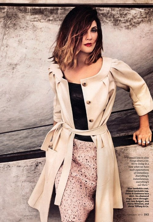 Drew Barrymore - Christian Dior coat, Chanel top and Dolce & Gabanna skirt