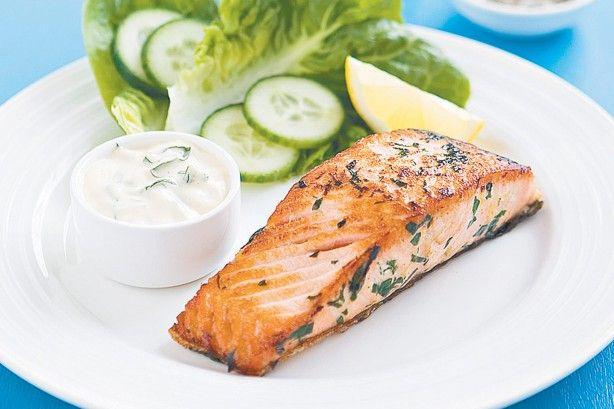 Salmon with basil mayo main image