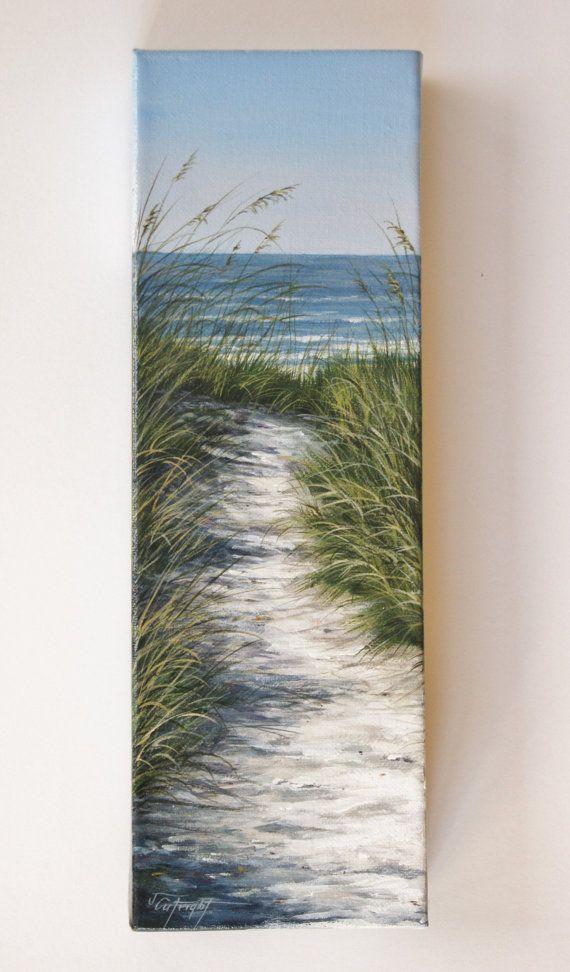 Fino arte Original acrílico pintura de escena de playa