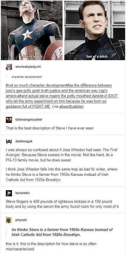 he thinks Steve is a farmer from 1950s Kansas instead of Irish Catholic kid from 1920s Brooklyn.