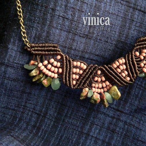 vinica / Sevin - necklace - unakit, jade, Preciosa beads - micromacrame