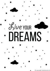 Tekst Poster Live your dreams Artikelnummer: 2014-009
