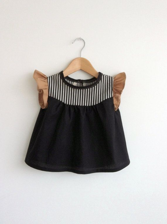 cotton blouse with striped detail in black