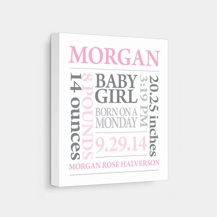 Personalized Baby Subway Art Canvas [Pink & Grey]