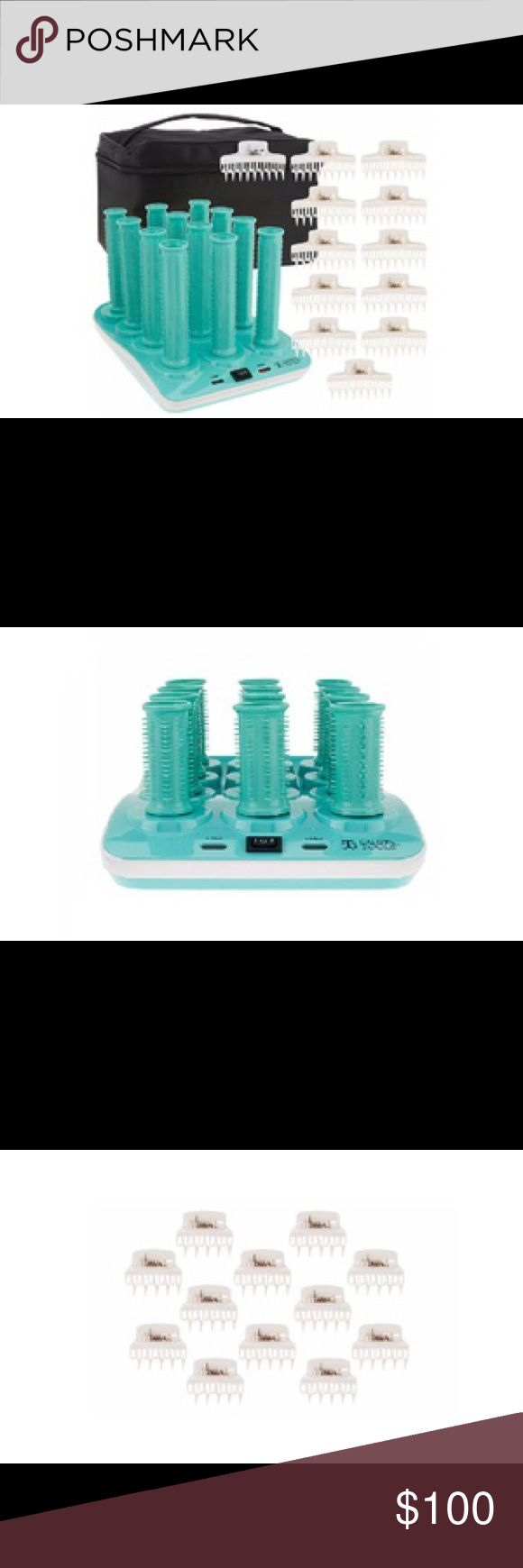 """Calista Hot Wavers Long Hair-Roller Set Long 1"""" hair rollers with plastic butterfly clips help shape hair into waves thanks to a charging base with two heat settings.  Set Contents: - 12 long rollers - 12 plastic butterfly clips - Charging base with 12 roller station - Travel Case  Details: - Charging base has two heat settings - Roller diameter 1"""" - Traveling bag has zips close and has 3"""" drop handle - Base dimensions: 7""""W * 10""""L * 1.25""""H - Travel bag dimensions: 10""""W * 7""""H * 7.75""""D…"""