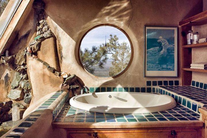 Earthship Bathroom - very naturally looking