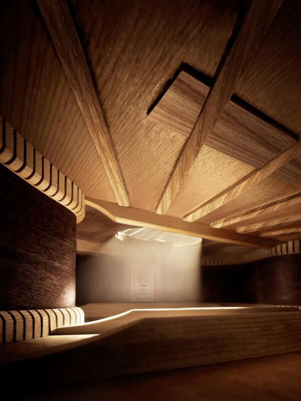 Inside an acoustic guitar