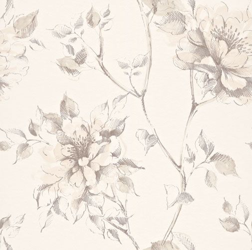 Romantisk tapet med stora, vackra slingrande rosor i beige och grått från kollektionen Flora 897517. Klicka för att se fler vackra tapeter för ditt hem!