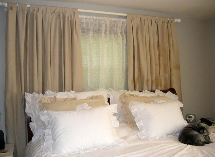 Plain Beige Wall Paint Combined With Brown Bedroom Drapes And Curtains Plus White Bed Idea