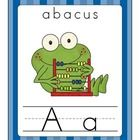 The Fun Frog Alphabet Line (Traditional Print) is a large alphabet line perfect for word walls.  Each letter has an upper and lower case lined letter along with a colorful frog themed photo and word.  The alphabet line is available with a green or blue background with D'Nealian, traditional print, and cursive alphabet. $4.00