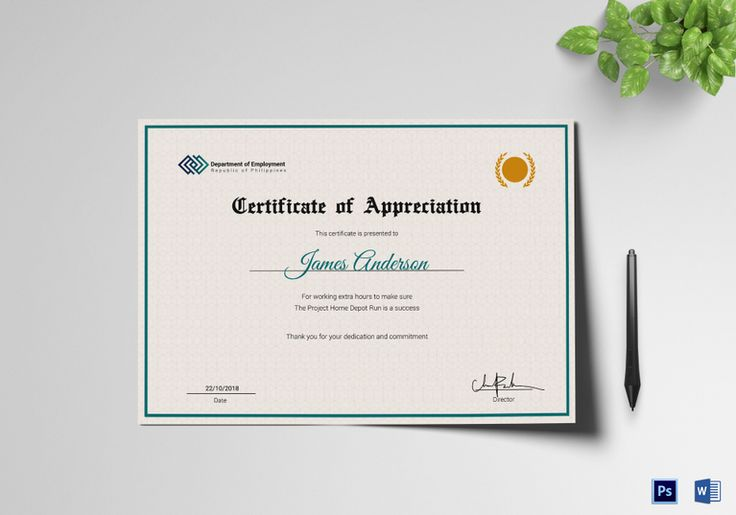 Employee Service Certificate Template  $9.99  Formats Included : MS Word, Photoshop  File Size : 11.69x8.26 Inchs #Certificates #Certificatedesigns #Employmentcertificates