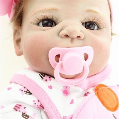 "23"" Girl Doll Handmade Full Body Silicone Reborn Baby Soft Newborn Bath Toys"