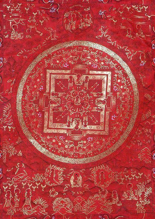 The Red Mandala of Buddha Grounding art for Symbol for Muladhara Chakra | Root Chakra मूलाधार