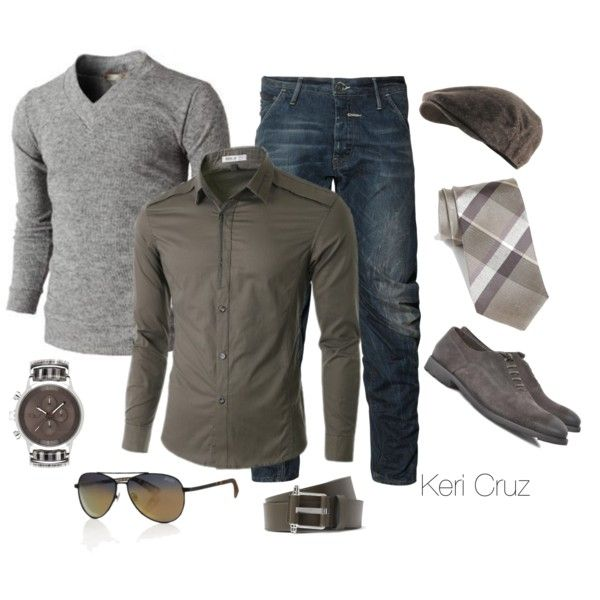 Men's Fashion. heathered grey sweater, brown shirt, jeans, brown accessories