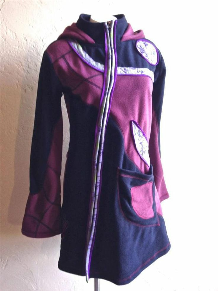Fair Trade Fleece Patchwork Fairy Jacket Coat Boho Gypsy Hippy Hoodie in Wine - Back in stock for a limited time