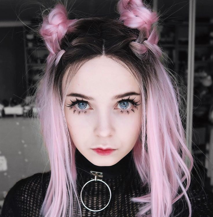 Pastel pink with dark roots & buns hairstyle wig by milkgore