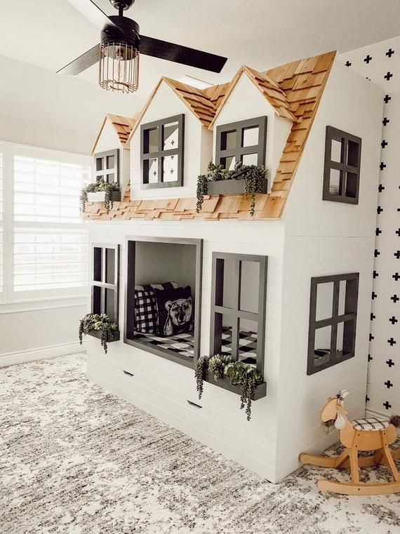 Mia S Country Cottage Bed Loft Bunk Bed Dollhouse Or Playhouse Optional Trundle Slide W Storage Staircase W Storage Or Ladder Cottage Bed Loft Bunk Beds Home