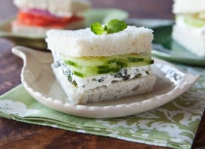 minted cream cheese and cucumber tea sandwich